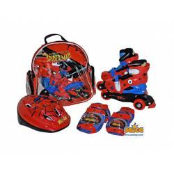 Patines Línea Spiderman, Casco y Protectores