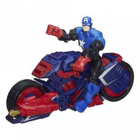 Figura 15 cm y vehículo del personaje Capitán América de los Vengadores de Marvel Super Hero Masher