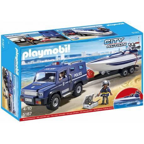 Coche de Policia con Lancha Playmobil