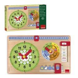 Reloj Calendario Madera Goula