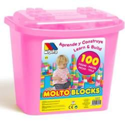 Molto Blocks Cubo Construcción 100 Piezas Rosa