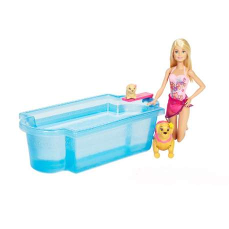 Muñeca Barbie Con Perritos Y Piscina