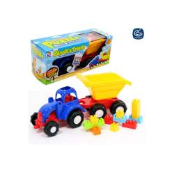 Tractor Con Contruccion Bloques 24 Pzas 44 Cm.