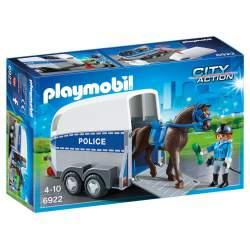 PLAYMOBIL POLICIA CON CABALLO Y REMOLQUE