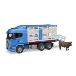 Camion Transporte De Ganado Con Buey Scania R Serie Lkw Azul