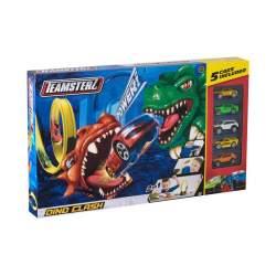 Pista Dino Clash incluye 5 coches.