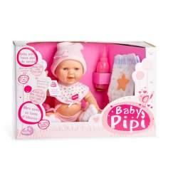 Muñeca Baby Pipí 30 Cm Con Traje Rosa Y Accesorios