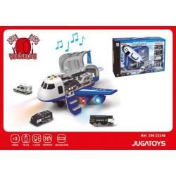 Avión Policía Portacoches Con Vehículos Y Accesorios