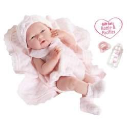 Muñeca Recién Nacido Niña 38 Cm Cuerpo De Goma Con Vestido Rosa Y Manta