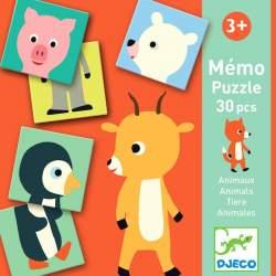 Memo Puzzle 30 Pcs. Animales. Djeco