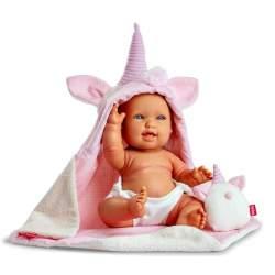 Muñeca Baby Unicornio Andrea 38Cm Con Toquilla Y Peluche