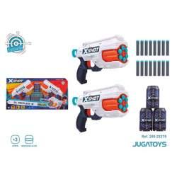 Pistola X-Shot Refle 2 Pistolas, Incluye 16 Dardos Y 3 Botes