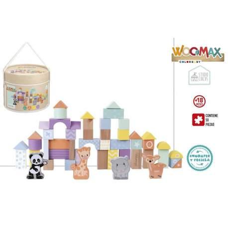 Cubo 50 Bloques De Madera Woomax Circus