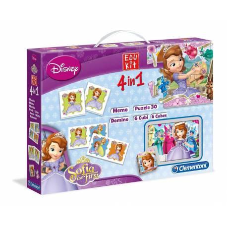 Edukit 4 en 1 Princesa Sofía Puzzles y Juegos Educativos Clementoni