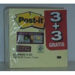 BLOC NOTAS ADHESIVO POST-IT 654 SUPER STICKY 76*76 PTE 3+3 REGALO