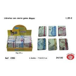 BLOC NOTAS DEC 16º METALIZADO RELIEVE MAPA PIEL C/GOMA SURTIDOS 5601