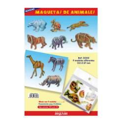 MAQUETAS 3D ARGU RECORTABLES ANIMALES SALVAJES PTE/9U 33353