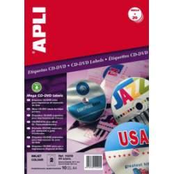 ETIQUETAS APLI INKJET A-4 CD PLATA 20U 10209