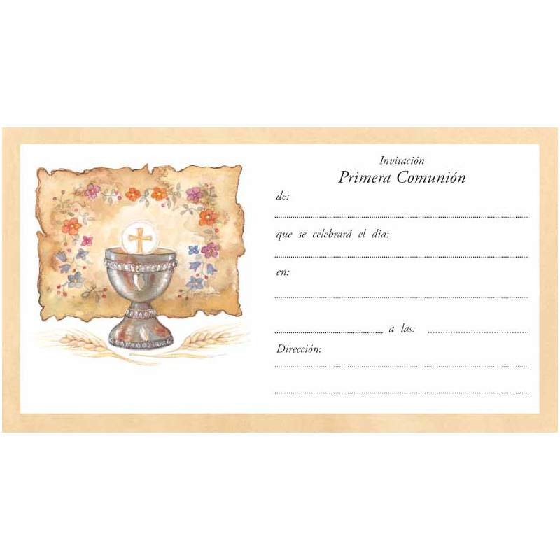 125865c414d9b TARJETA INVITACION COMUNION EDICROMO CALIZ PERGAMINO 14184