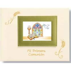 LIBRO COMUNION EDICROMO APAISADO PORTARRETRATOS VERDE 21562
