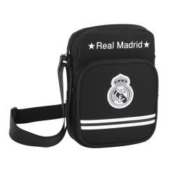 BOLSO SAFTA15 REAL MADRID BLACK BANDOLERA 22CM 611524672