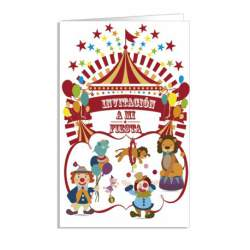 TARJETA INVITACION FIESTA ARGUVAL INFANTIL CIRCO BLISTER 8U 38188