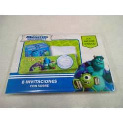 TARJETA INVITACION FIESTA VERBETENA MONSTRUOS UNIVERSITY C/SOBRE 6U 014001222