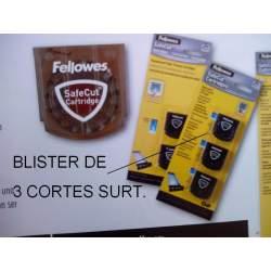 CUCHILLA FELLOWES FUSION REPUESTO BLISTER 3U SURTIDAS 54113