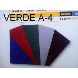 TAPAS A-4 CARTON GOFRADO VERDE PTE 50U