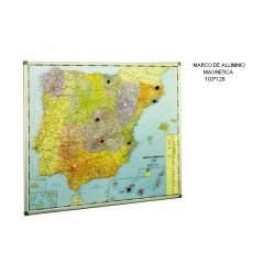 MAPA MURAL FAIBO ESPAÑA 103*129 MAGNETICO PIZARRA BL MARCO ALUMINIO 153