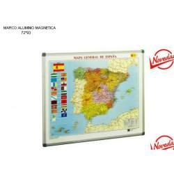 MAPA MURAL FAIBO ESPAÑA 72*93 MAGNETICO PIZARRA BL MARCO ALUMINIO 143