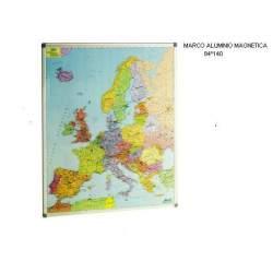 MAPA MURAL FAIBO EUROPA 84*140 MAGNETICO PIZARRA BL MARCO ALUMINIO 173